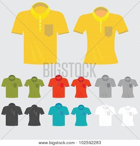 Set Of Templates Colored Polo Shirts For Man And Women.