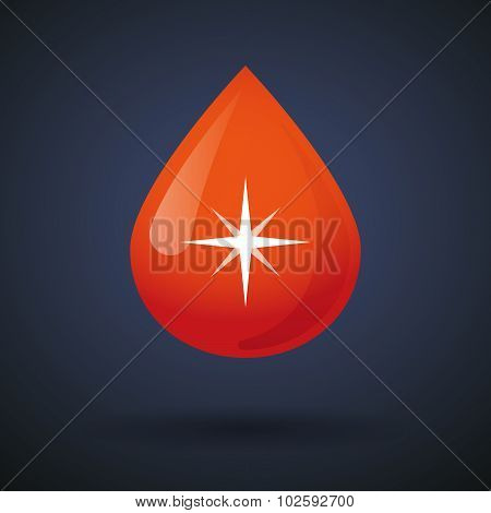 Blood Drop Icon With A Sparkle