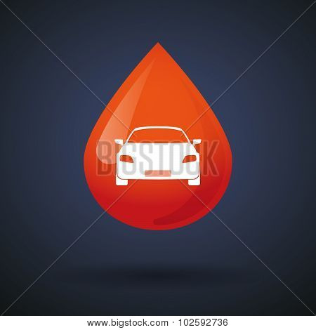 Blood Drop Icon With A Car