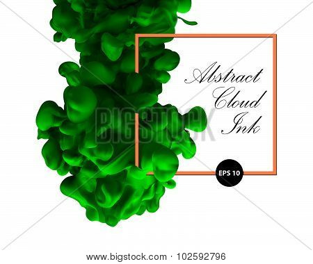 Abstract cloud ink. Green color and orange border. Water paint, art banner, splash green ink.