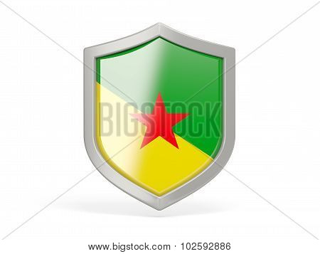 Shield Icon With Flag Of French Guiana