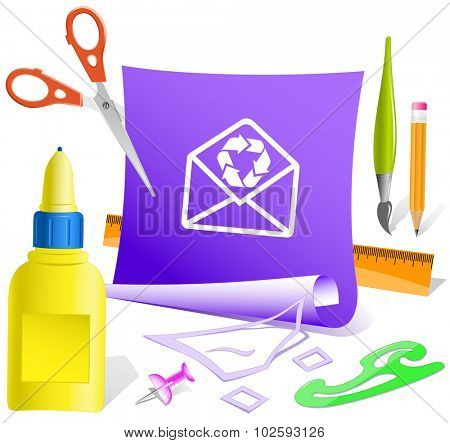 open mail with recycle symbol. Paper template. Vector illustration.