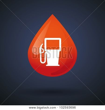 Blood Drop Icon With A Gas Station