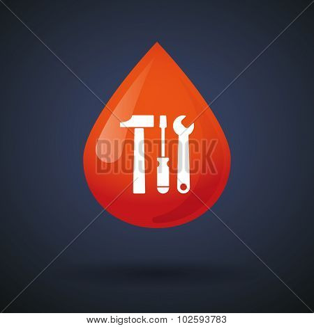 Blood Drop Icon With A Tool Set