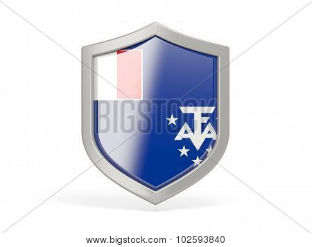 Shield Icon With Flag Of French Southern Territories