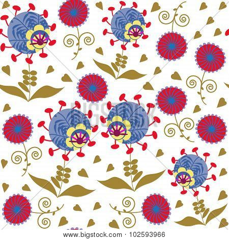 Colorful Abstract Seamless Pattern With Odd Flowers And Seamless Pattern In Swatch Menu, Vector
