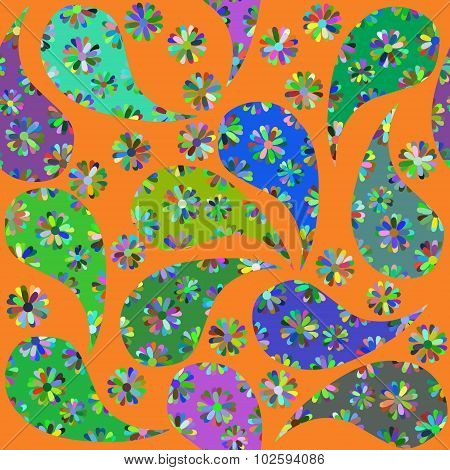 Abstract Nature Seamless Pattern With Cute Paisley Pattern,  And Seamless Pattern In Swatch Menu, Ve