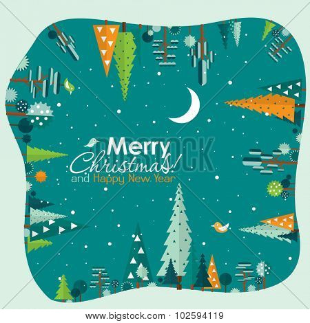 Template Christmas greeting card with a tree, vector illustration