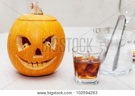 Halloween Pumpkin With Carved Faces