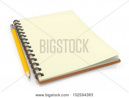 Notepad With Pencil On White Background.