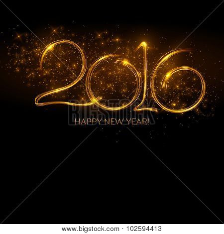 2016  New Year made a sparkler. Vector illustration