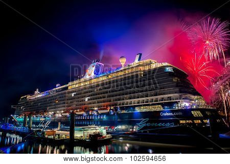 Fireworks light up the sky over the Cruise Liverpool terminal