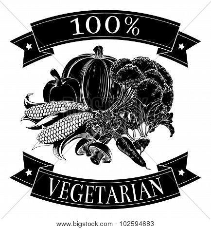Vegetarian 100 Percent Label