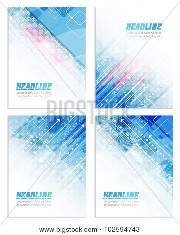 Set of abstract flyer or cover design with technological pattern