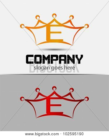 Letter e logo with crown icon design template elements