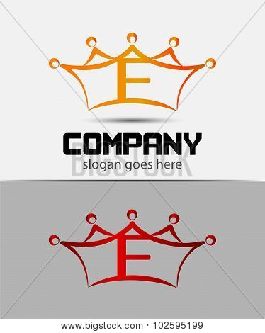 Letter f logo with crown icon design template elements
