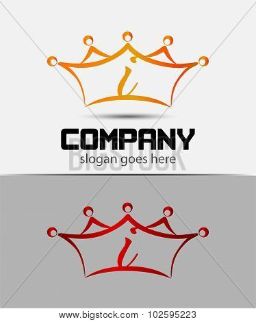 Letter i logo with crown icon design template elements