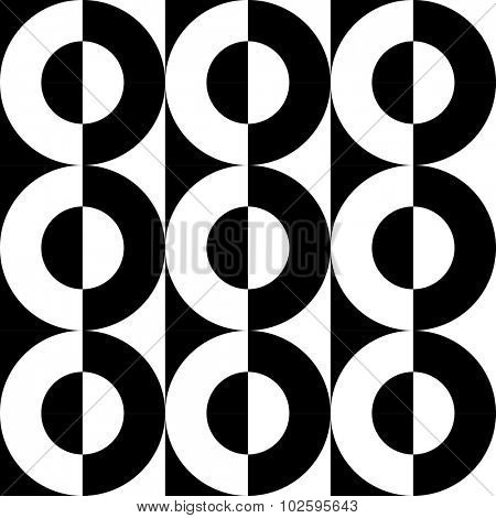 Seamless Circle and Stripe Pattern. Vector Regular Texture