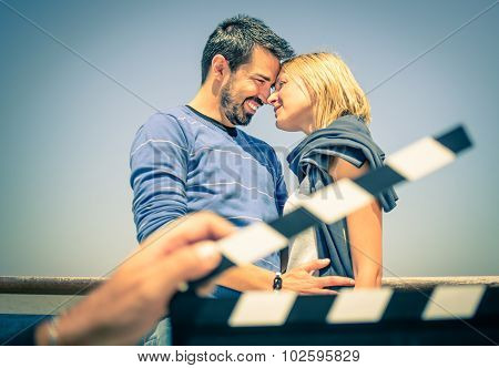 Couple In Love acting Like Actors In A Movie