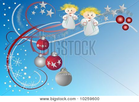 Christmas with angels and baubles
