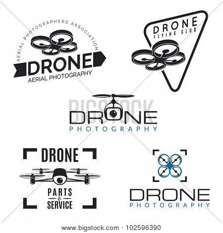Set of drone logos badges and design elements.