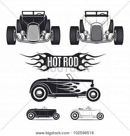 Hot rod car tamplates for icons and emblems isolated on white background.