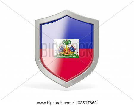 Shield Icon With Flag Of Haiti