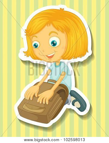 Girl packing her schoolbag illustration