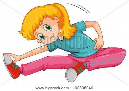Woman stretching her legs illustration