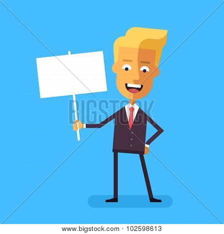 Handsome blond businessman holding banner. Vector