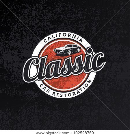 Classic Car Emblem On Black Grunge Background.