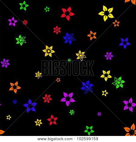 Abstract Seamless Pattern With Six-colored Rainbow Flowers
