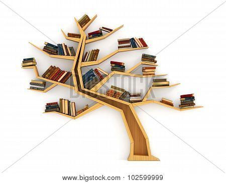 Concept Of Training. Wooden Bookshelf In Form Of Tree. Science About Nature. The Tree Of Knowledge.