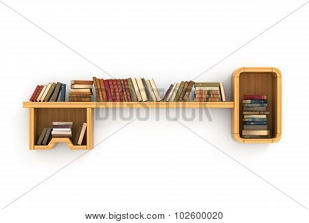 Concept Of Training. Wooden Bookshelf In Form Of Key. The Key To Knowledge. Psychology. A Human Have