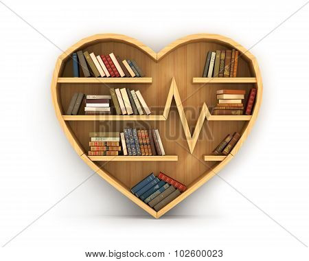 Concept Of Training. Wooden Bookshelf In Form Of Heart. Science About Human. Medicine. A Human Have