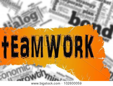 Word Cloud With Teamwork Word On Yellow And Red Banner