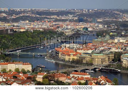 Aerial View Of Prague, Czech Republic From Petrin Hill Observation Tower