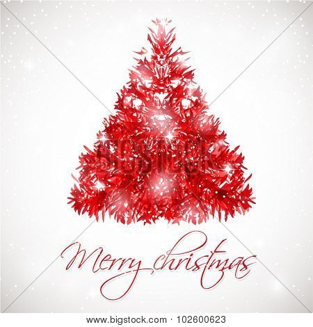 Red abstract Christmas tree on grey background with lights and snowflakes. Vector illustration for poster, web, greeting card.