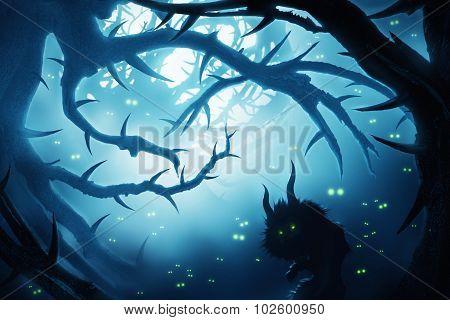 Animal With Burning Eyes In Dark Mystic Forest