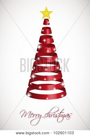 Red ribbon Christmas tree on silver background with snowballs and snowflakes. Vector illustration for poster, web, greeting card.