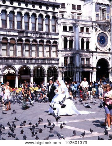 Wedding in St Marks Square, Venice.
