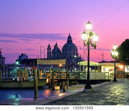 Venice waterfront at sunset.