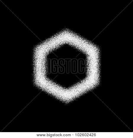 White Abstract Polygon Badge