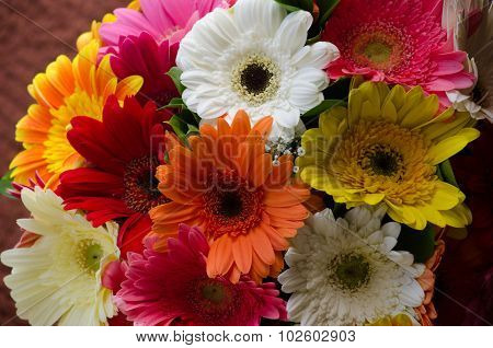 Close Up Of A Bouquet Of Flowers