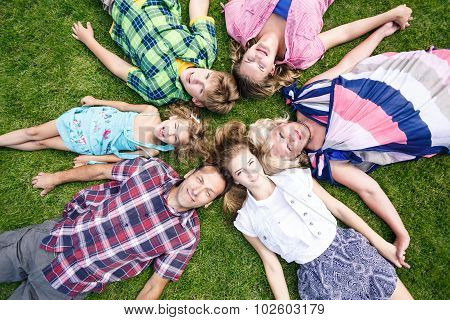 Big family relaxing in the summer park