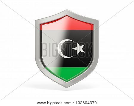 Shield Icon With Flag Of Libya