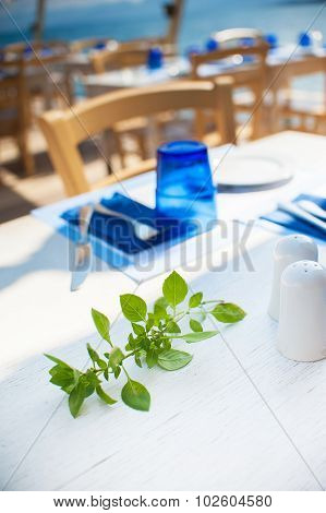 Basil leaves on a white wooden table with table appointments.