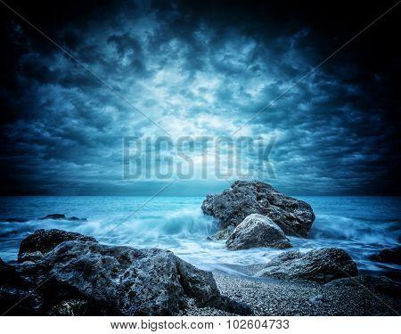 Stormy Kathisma Beach, Lefkada Island in Ionian Sea, Greece.