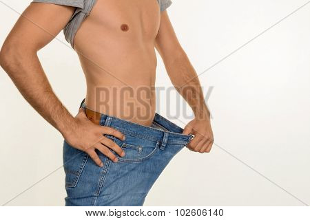 a man has taken off with a successful diet a lot of body weight.