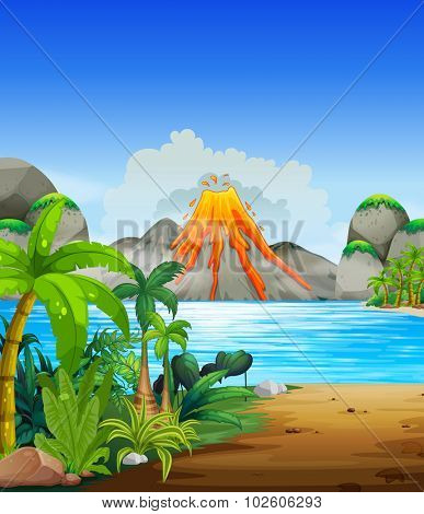 Volcano eruption behind the lake illustration
